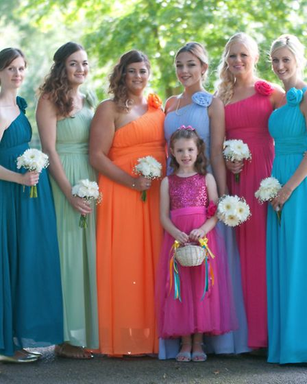 The colouful bridesmaids (from left) Katie Lillystone, Jessica Leeder, Leanne Howard, Loise Robinson