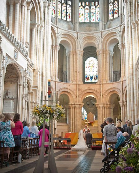 The ceremony at the wedding of Kelly Hinkley-Hardman and Adrian Hinkley at Norwich Cathedral. Pictur