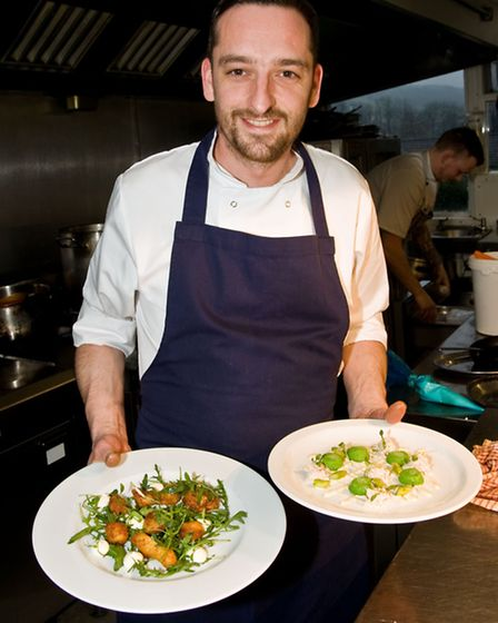 Gareth Bevan with his dishes
