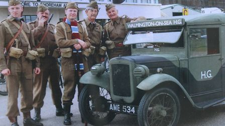 Dale (right) with other members of the Real Dad's Army re-enactment and history group (Picture suppl