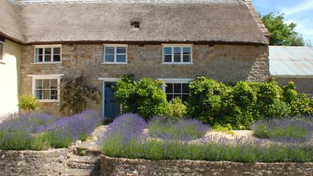 Myrtle Cottage in Netherbury is a Grade II listed thatched cottage with open fire, next door is Pear