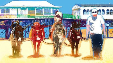 The picture of donkeys on St Annes beach is by Lancashire Life artist Nick Oliver. See more of his w