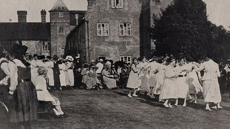 Country dancing competition at Ingatestone Hall, 1919