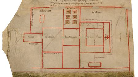 Plan of Ingatestone Hall, 1566, showing buildings, artificial watercourses and adjacent fields