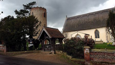 EADT FILLER PICTURE St Andrews Bramfield with its unusual tower seperate from the main church. EADT