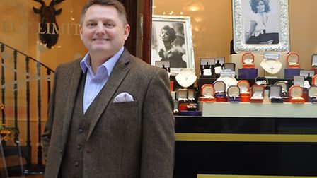 James Hawkins at his new shop Juels' Limited in the Royal Arcade, Norwich