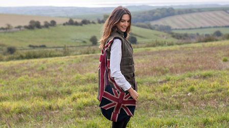 Dorset-based company Maude & Foxs Patriot Red Jack tweed gilet £290 and Patriot bag with moleskin ap