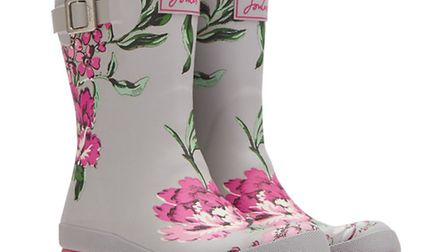Molly Welly in grey floral £36.95 by Joules. Branches at Dorchester 01305 267993, Sherborne 01935 81