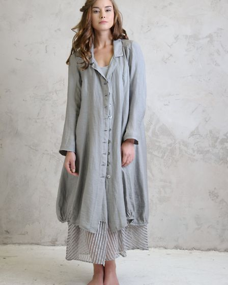 Linen coat £195 and Panel maxi dress £196 by Out of Xile. From a selection at Colmers Hill, Symondsb