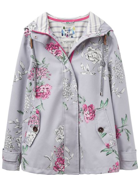 Coastprint waterproof hooded jacket in grey floral £89.95 by Joules. Local Joules stockists as befor