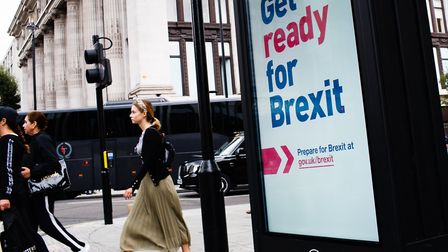 A 'Get ready for Brexit' sign, part of a huge government advertising campaign launched ahead of Brit