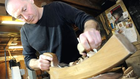 Jim Parsons making chairs in his workshop.