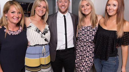 Daniel Whiston (centre) with (l-r) Anne Wade, Emma Whiston, Laura Flanagan and Kasey Lee