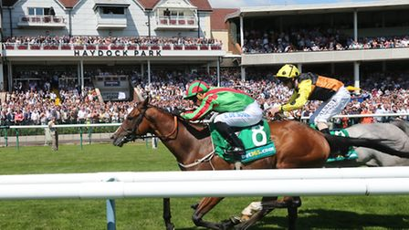 Notarised and Silvestre De Sousa win the Old Newton Cup at Haydock Park (photo credit: John Crossick