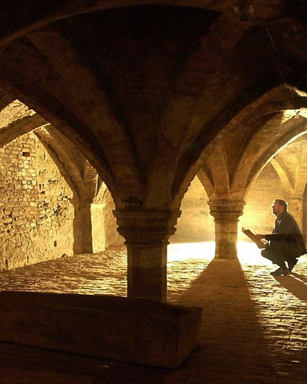 The crypt, or undercroft, beneath Clifton House in King's Lynn