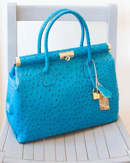 Turquoise blue ostrich Italian leather large handbag, £63 (other sizes and colours available. Availa