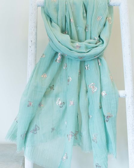 Soft Apple green metallic butterfly scarf, £10, comes in a variety of colours. Available from Lucy A