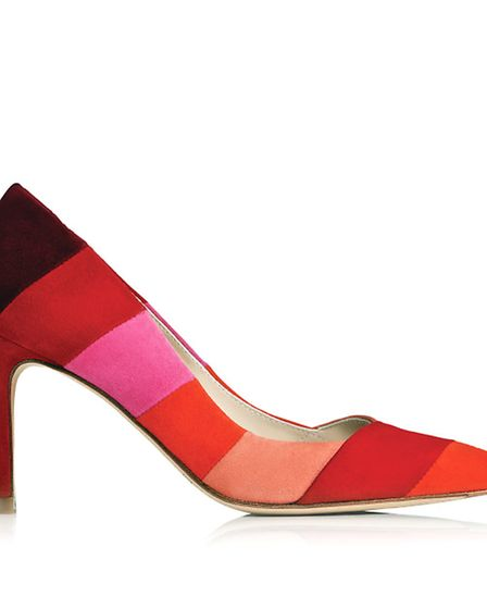 L.K.Bennett Avie Colour Block Suede Courts, £250. Available from Jarrold, Norwich.