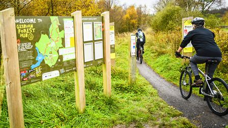 Information boards at the start of the trails