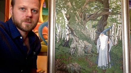 Edward with a work featuring Gandalf, of Lord of the Rings