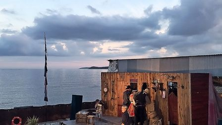 A performance from The Miracle Theatre on Carlyon Beach, Cornwall