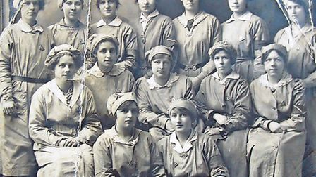 Norfolk women munitions workers pose for the camera