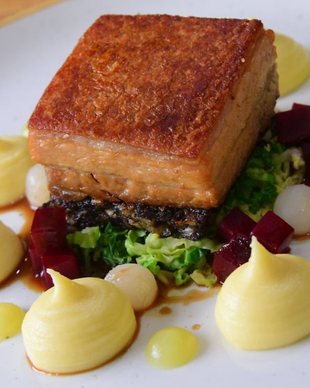 EDP Norfolk magazine food review, the Honingham Buck, pork belly main. PHOTO BY SIMON FINLAY