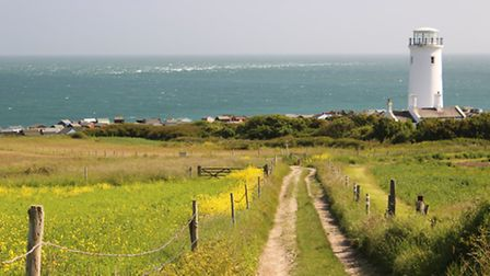 Looking back down the track to the Lower Lighthouse