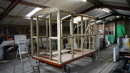 One of the huts under construction (picture: Tiny Interactive Media)