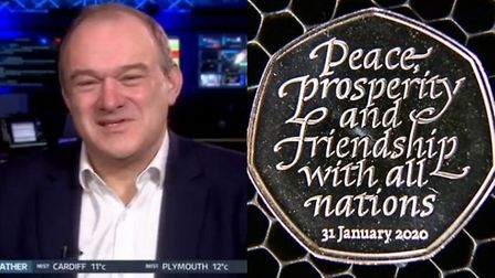 Ed Davey on Good Morning Britain (left) and the Brexit 50p coin (right). Photograph: ITV/PA.