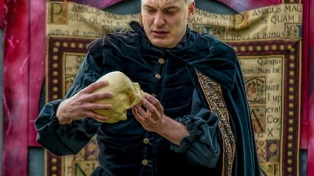 Hamlet is performed by the Festival Players Theatre Company at Abbotsbury Subtropical Gardens