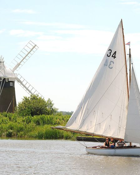 Sailing on the River Thurne on a very warm but breezy afternoon in early July