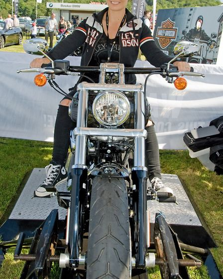 Cassie Truman at the Bowker stand on a Harley Davidson - Royal Lancashire Show