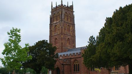 The red sandstone church of Bishops Lydeard which dates from 1450