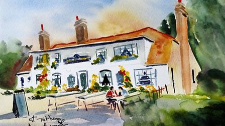 THE COMPASSES Presents a picturesque view for motorists travelling along the Colchester Road.