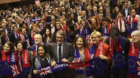 European Parliament President David Sassoli, center, stands with other MEPs ahead of Brexit day. (AP