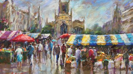 Cambridge Stripes by local artist John Patchett is part of his exhibition at the Forum, Norwich