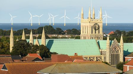 View across the rooftops of Great Yarmouth from the top of Havenbridge House