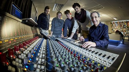 Students are shown the ropes on one of Marks sound consoles