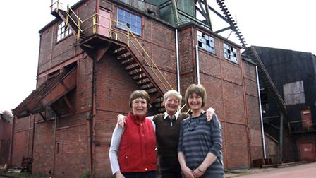 Margie Foots, Jenni Payne and Jill Davis of the Florence Paintmakers outside the former Florence Min