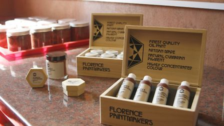 Egremont Red paint being made by Florence Paintmakers