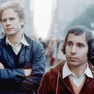 Simon (right) & Garfunkel during the filming of controversial documentary 'Songs of America,' which