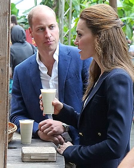 The Duke and Duchess of Cambridge drinking baobab smoothies in the Rainforest Biome