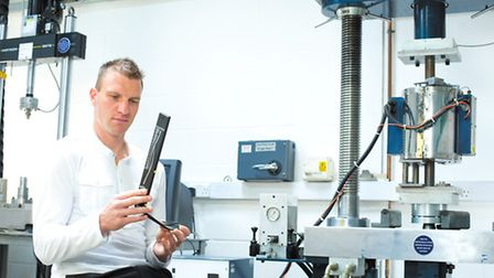 Dr Byrce Dyer working on the high tech prosthetic (Photo by Bournemouth University)