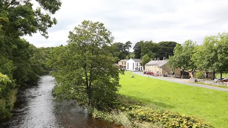 View toward the village from the bridge over the River Hodder