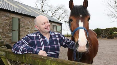 Mike Clark at the stables with Leo