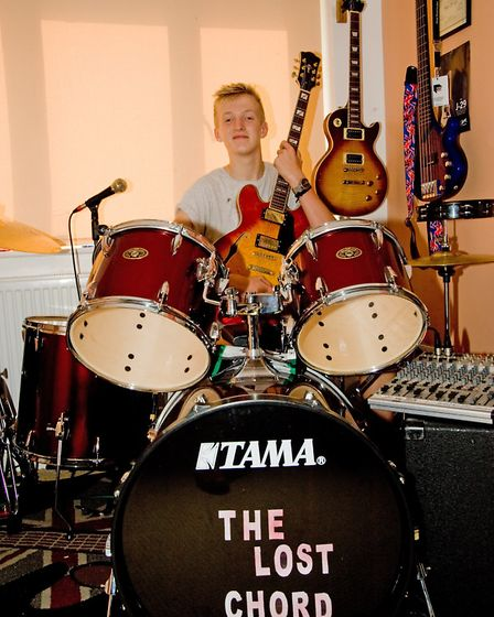 Jake now has his own drum kit