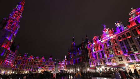 Grand Place in Brussels, Belgium, is lit up in red, white and blue during a celebration and farewell to the UK on the eve...