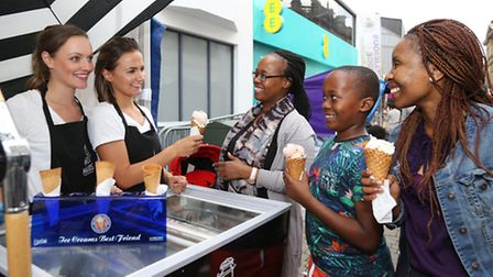 Rebecca and Fiona Partington of Milk Maids (Bolton) with Mmapula Van Zeijl, Toby and Tihithi
