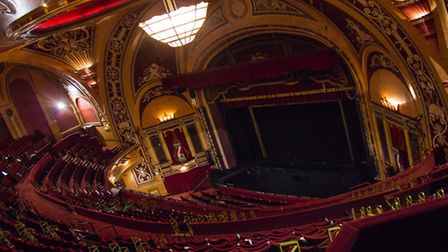 The fantastic stage, with original proscenium arch which was rescued after the demolition of the ori